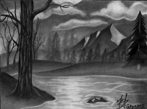 Drawn scenic landscape Drawing landscape drawing  drawings