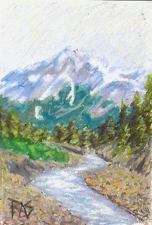 Drawn river oil painting Mountain winding river Seward mountain