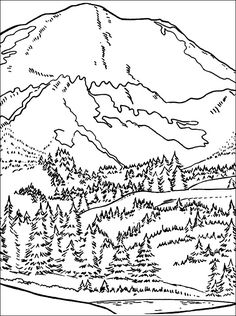 Drawn river coloring page Page pages Landscape Mountain coloring