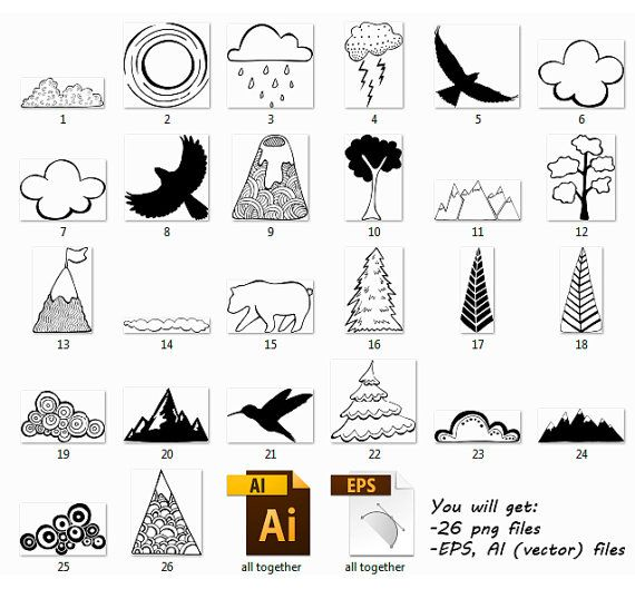 Mountain clipart hand drawn PassionPNGcreation 25+ ideas Nature Hand