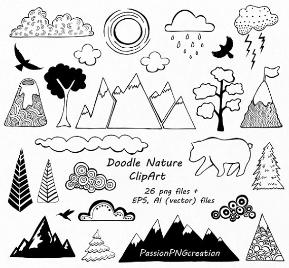 Mountain clipart hand drawn PassionPNGcreation Nature Drawn Nature Hand