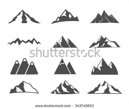 Drawn snow ice mountain Set icon Set ice icon