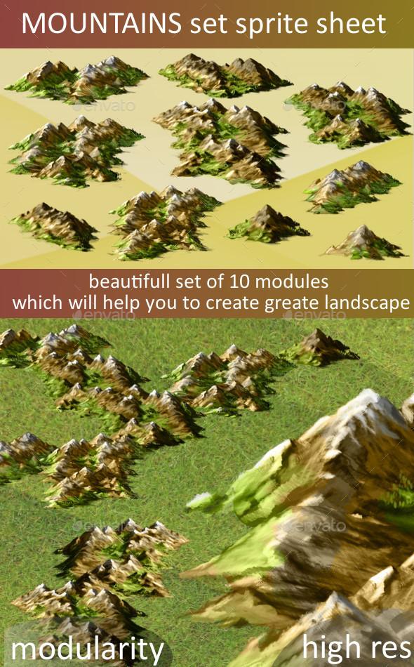 Drawn mountain isometric Sprite Mountains sprite Sprites or