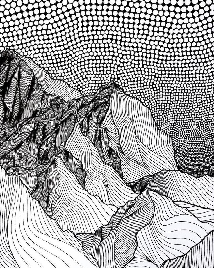 Drawn mountain line art The and ideas of of