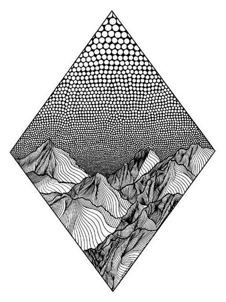 Drawn mountain line art The and of of about