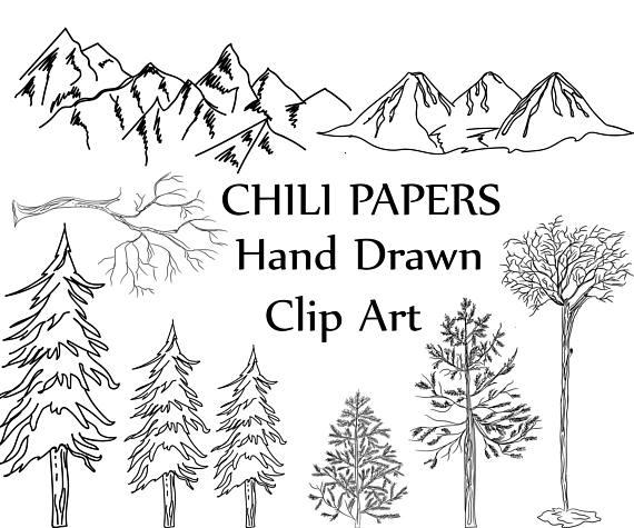 Drawn mountain line art Art: file Art