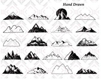 Drawn mountain line art Art art Art Etsy Clip