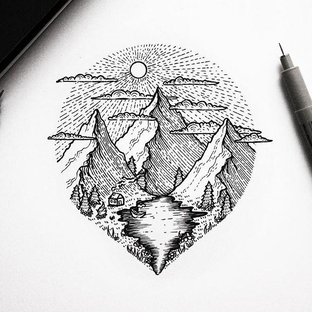 Drawn scenic mountain On the Pinterest lake