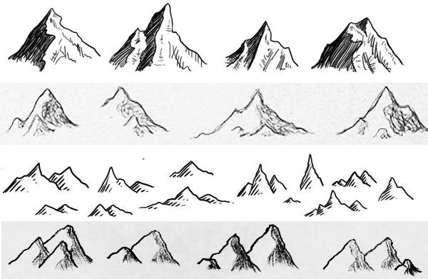 Drawn mountain mountain line Shape Dragons illustrations these mountains