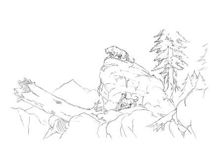 Drawn mountain mountain line Mountain Dog Lion  Doug