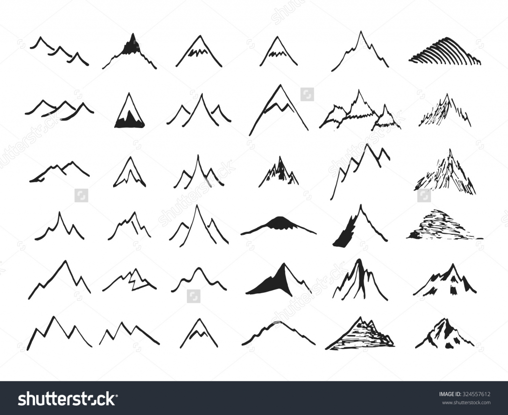 Drawn mountain mountain line Silhouette Library Drawing Of Set