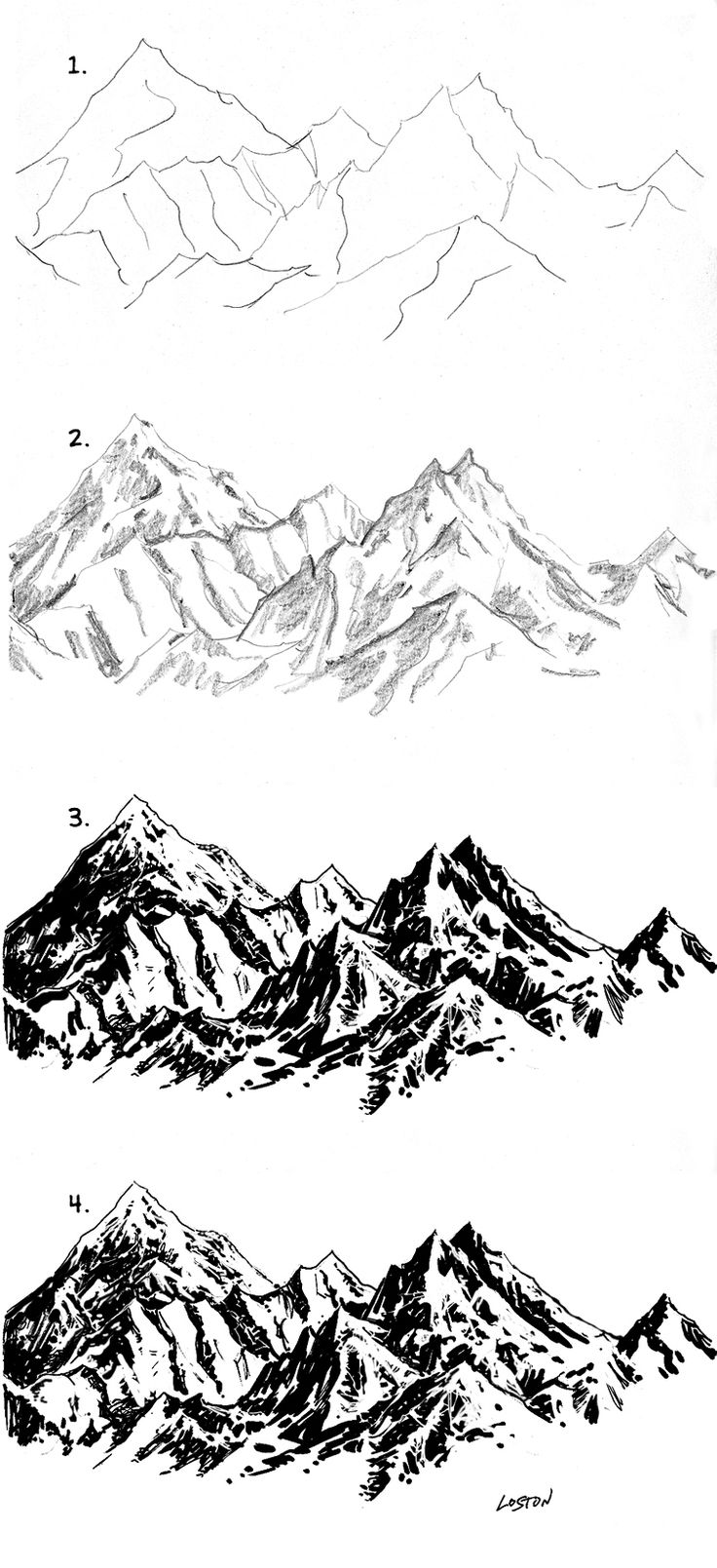 Drawn hill black and white Drawing ideas Mountain Rocks Rendering