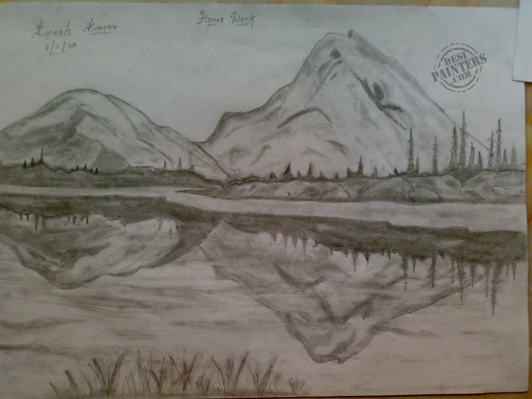 Drawn scenic beautiful village scenery Fall Pencil Collections Sketches pictures