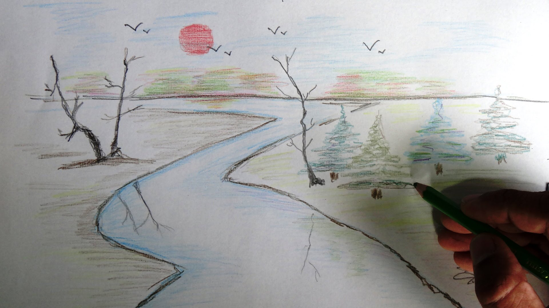 Drawn scenery creative How pencil Scenery draw to