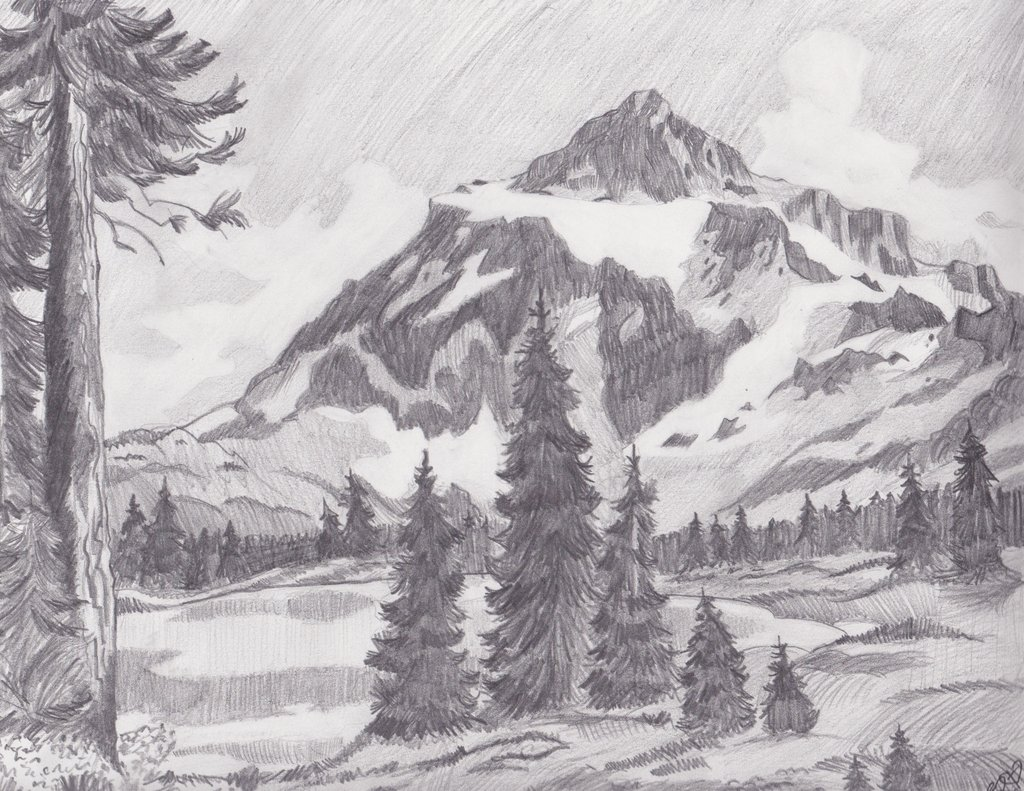 Drawn scenic mountain Drawing Scenery Landscapes Landscapes Scenery