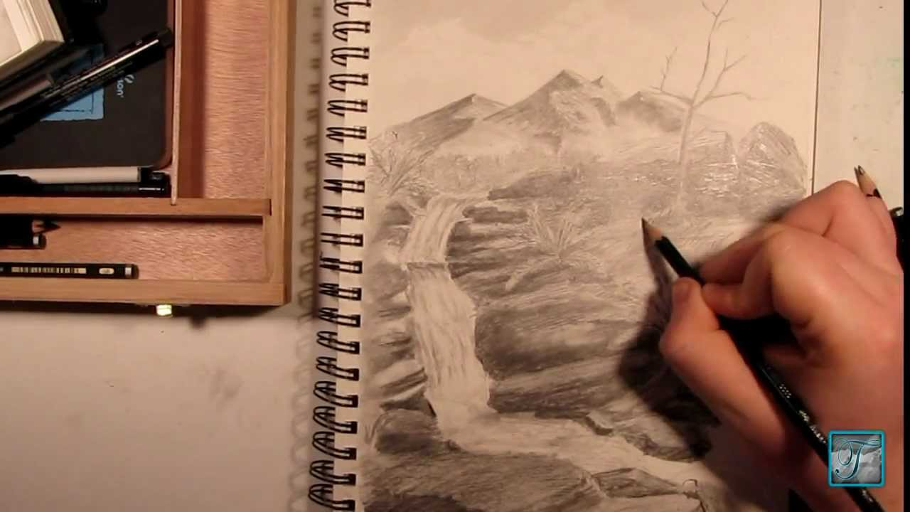 Drawn mountain sketched YouTube Waterfall Waterfall Sketch Mountain
