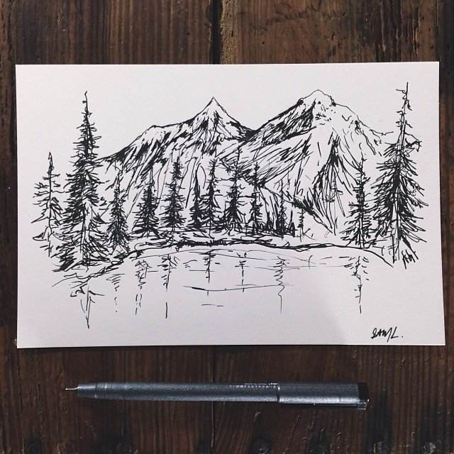 Drawn mountain sketched Drawing Croquis Mountain Search Hiking