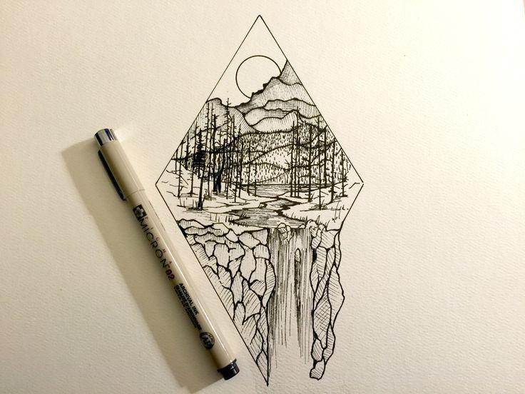 Drawn mountain sketched Maine Derek SketchMountain Maine Pinterest