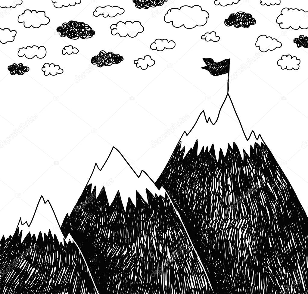 Drawn snow ice mountain Drawn vector Hand by ©