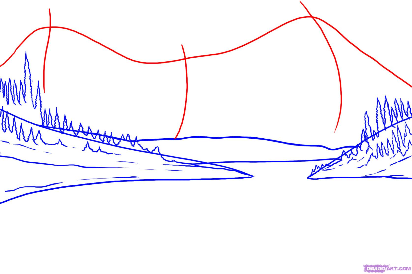 Drawn mountain step by step Step how to  by
