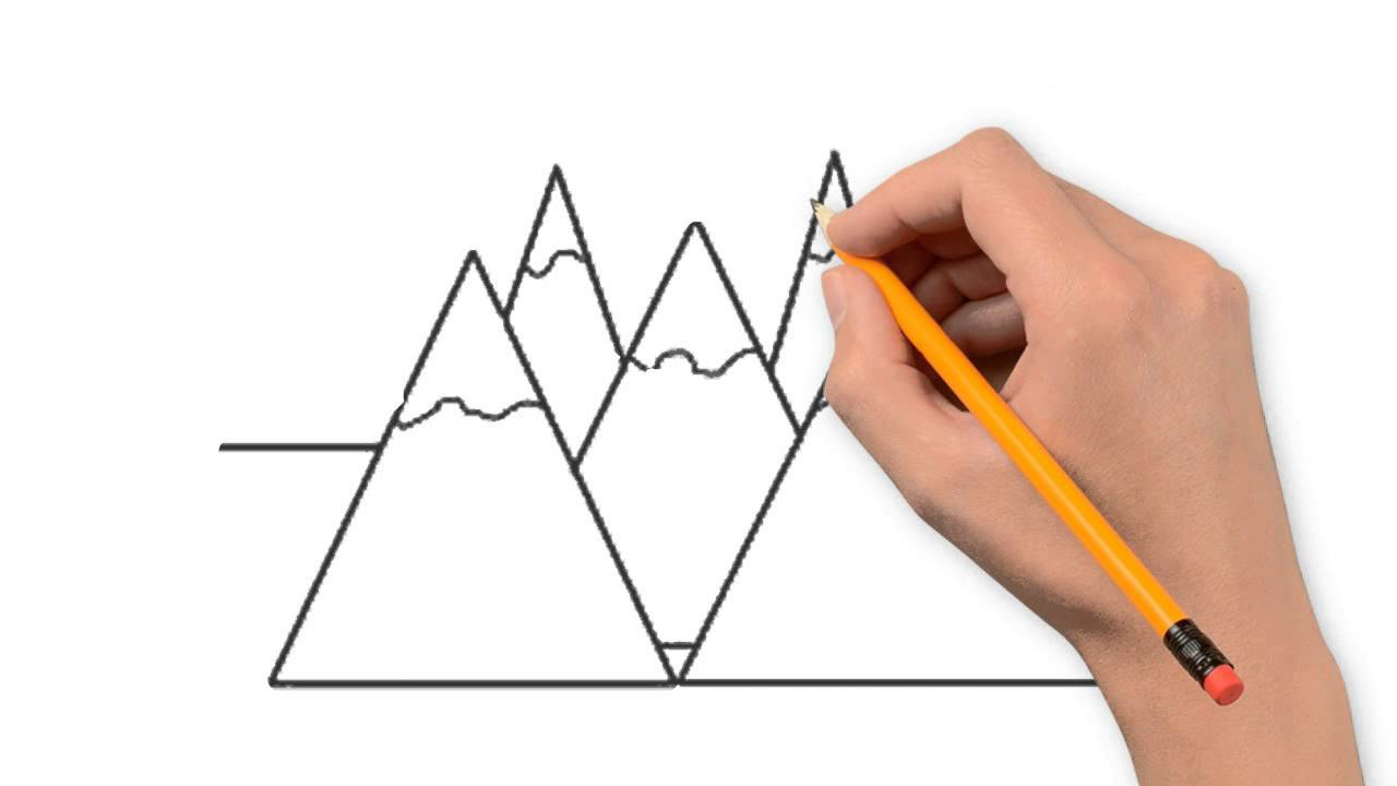 Drawn mountain step by step Step mountains mountains step to