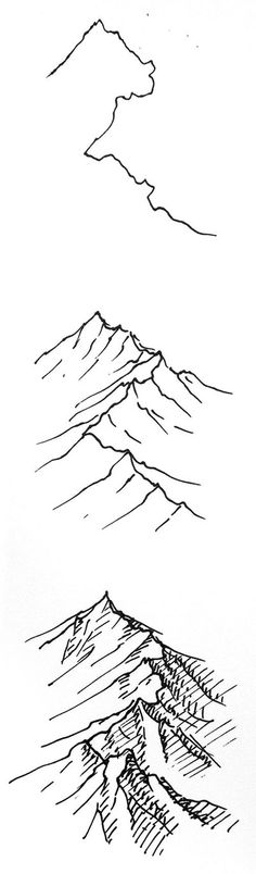 Drawn mountain step by step Cartography map Quick resource drawing