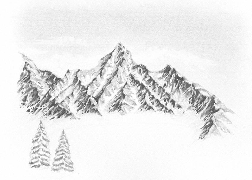 Drawn snow snowy tree Landscape Draw How to snow