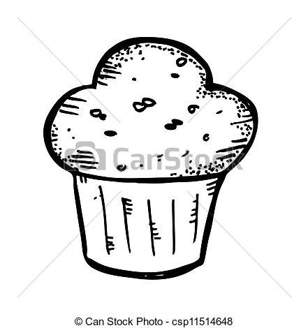 Drawn muffin Search Vector Clip Art of