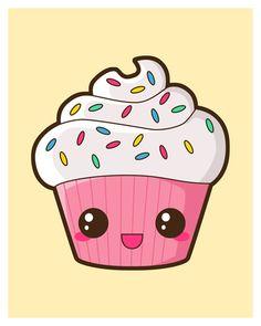 Muffin clipart kawaii :D  Happy love cupcake