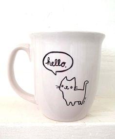 Drawn mug Hello Drawn gift day Saying