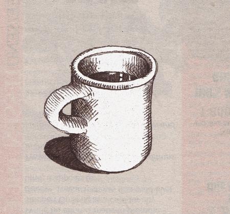 Drawn mug Mug on two on a