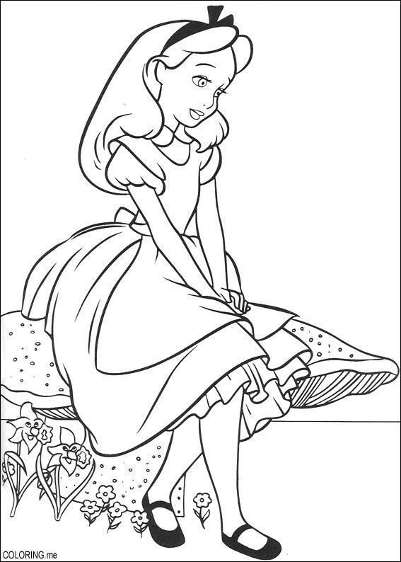 Drawn mushroom alice in wonderland mushroom Page Wonderland Coloring Coloring Alice