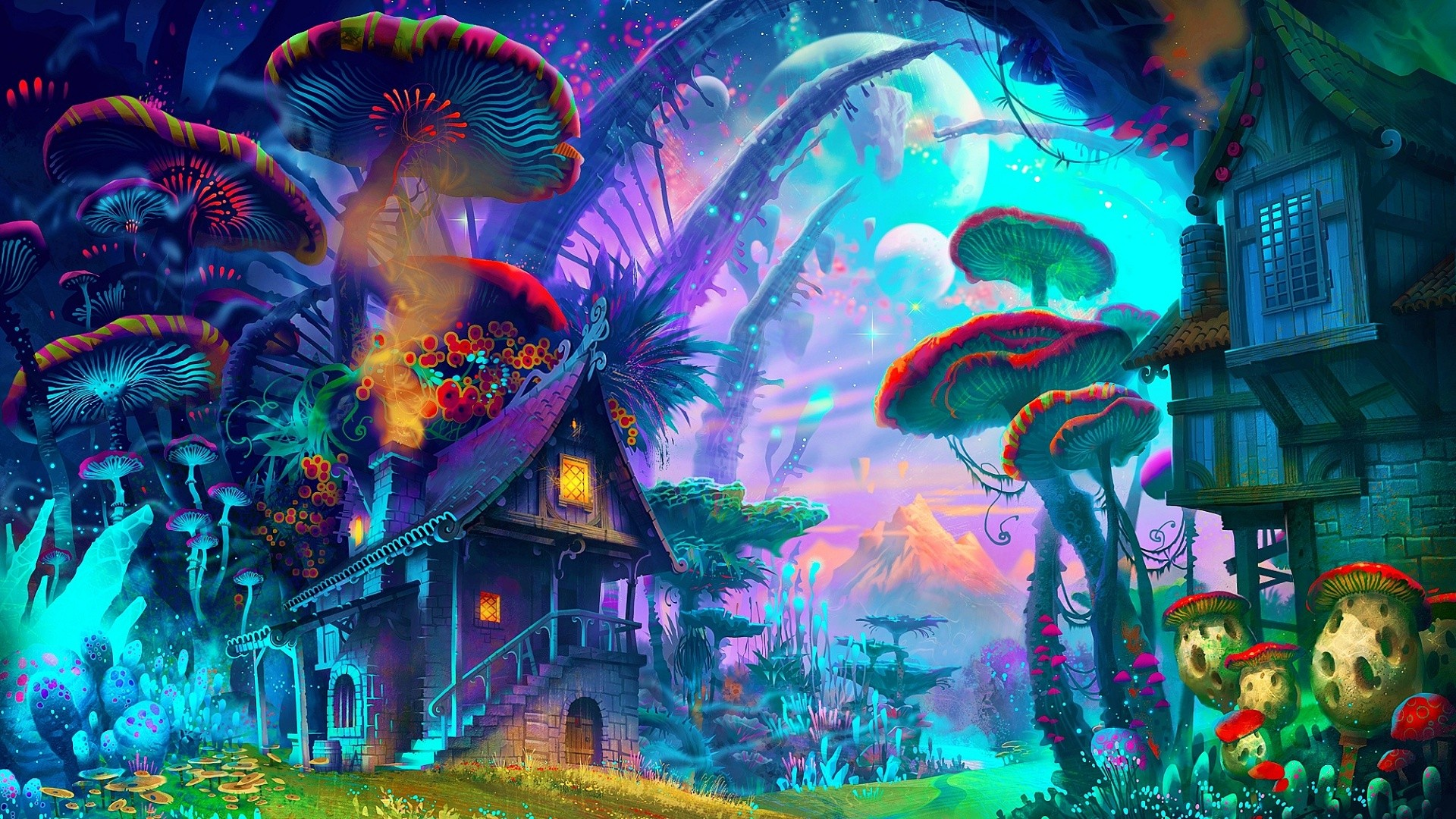 Drawn triipy nature House colorful art 1920x1080 drawing