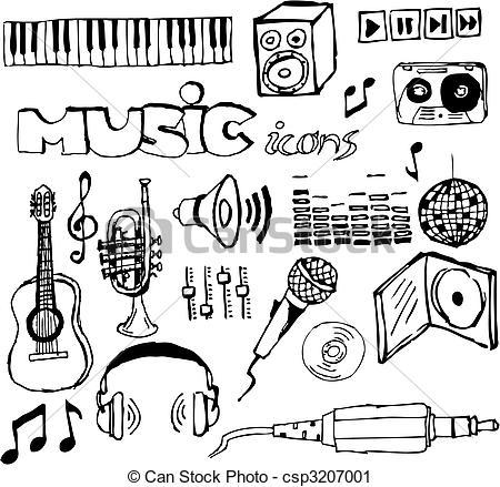 Drawn music (vector icons drawn drawn Art