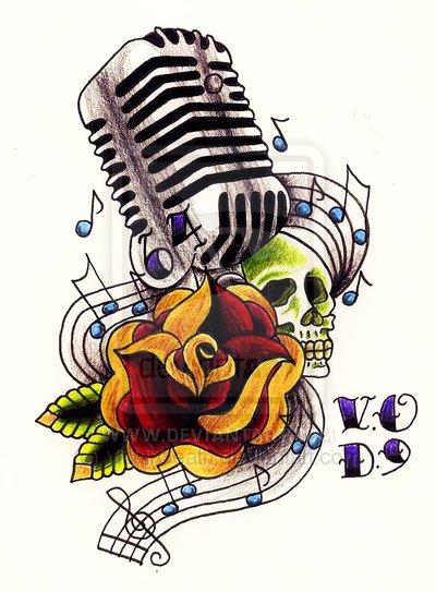 Drawn music 50's Design Microphone microphone Mic angels