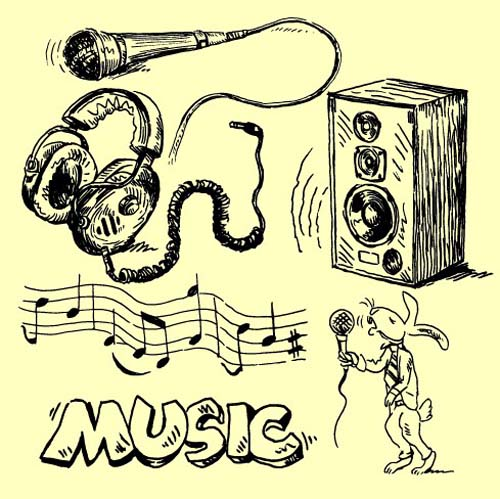 Drawn music Vector instruments Music Vintage 03