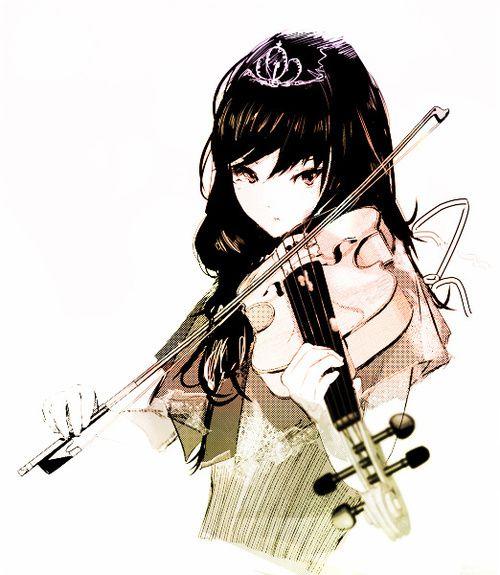 Drawn music anime Black music princess princess violin