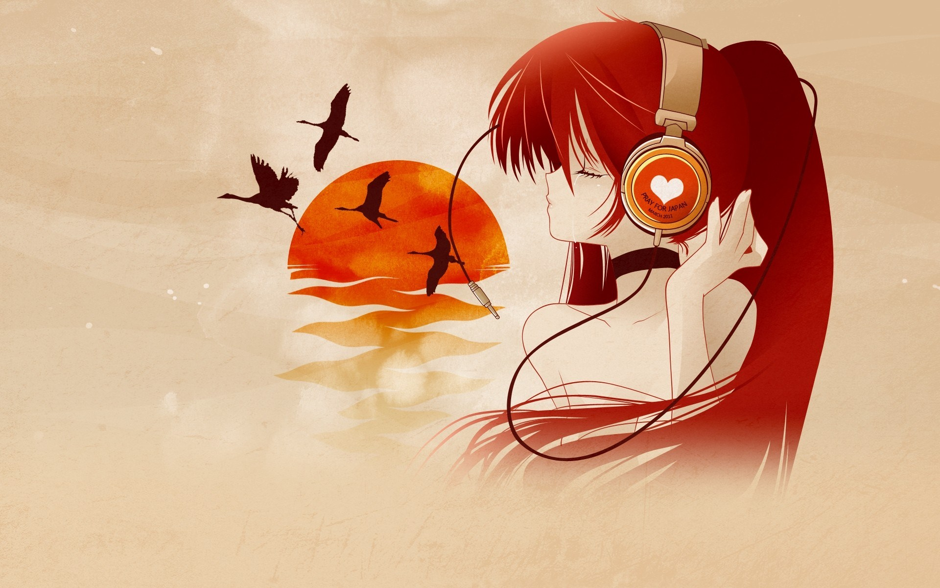 Drawn heart anime Wallpaper Headphones  With Heart