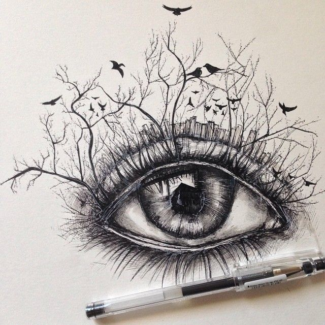 Drawn eyeball famous 15 Drawings Pen Alfred images