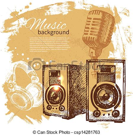 Drawn musical background design Hand with Hand retro vintage