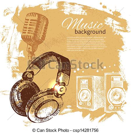 Drawn musical background design Hand with drawn retro vintage