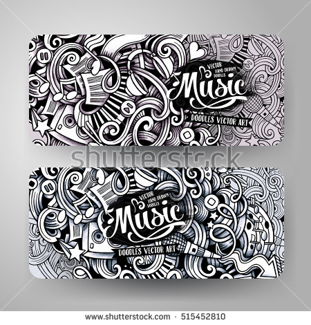 Drawn music banner Vector trace Doodle Design trace