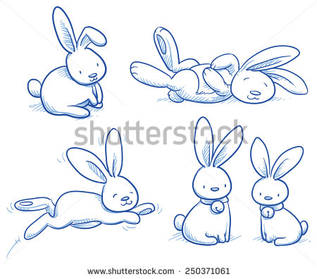 Drawn music bunny Rabbit in different for poses