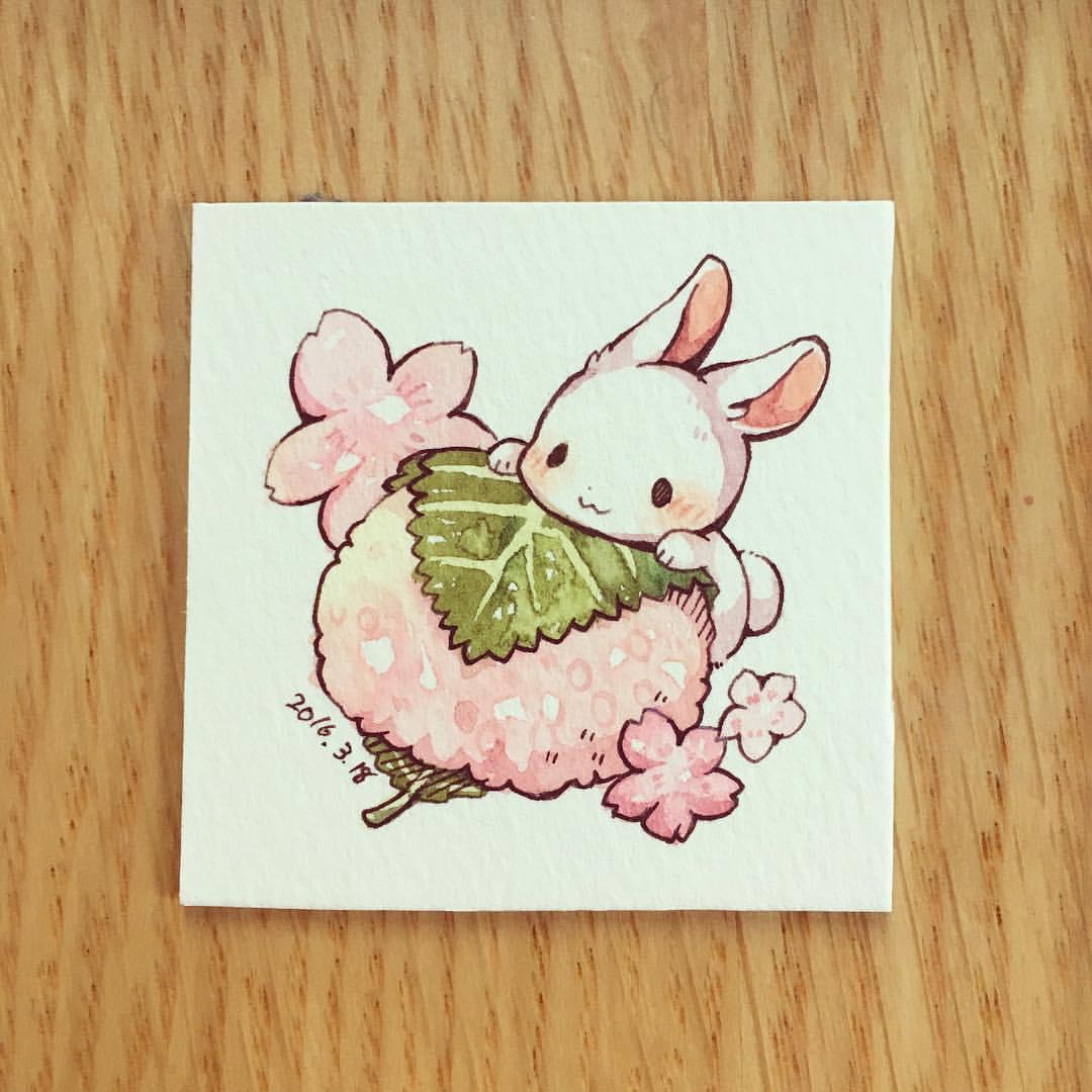 Drawn music bunny Illustration  pink blossom illustration