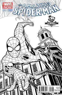 Drawn music comic book character & (B&W) on B Spiderman