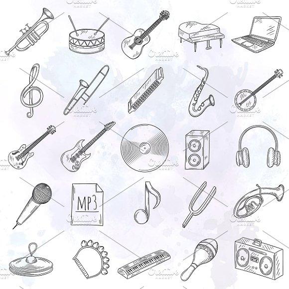 Drawn music creative Of drawn icons Market hand