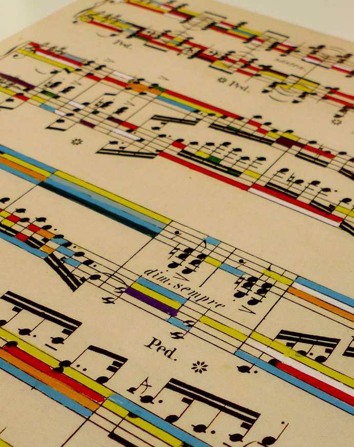 Drawn music creative Music and colours onto sheet
