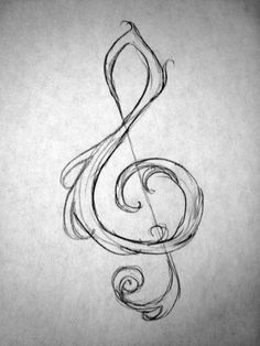 Drawn music notes simple TO Draw  BACHELOR Clef