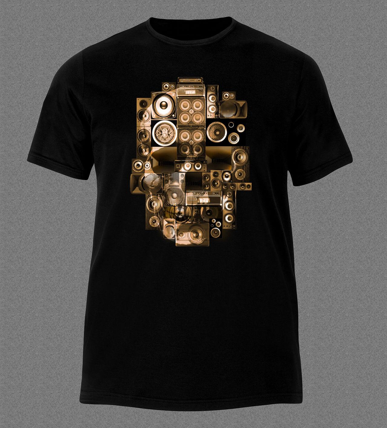 Drawn music dj speaker Shirt Dubstep for Speakers Fabric
