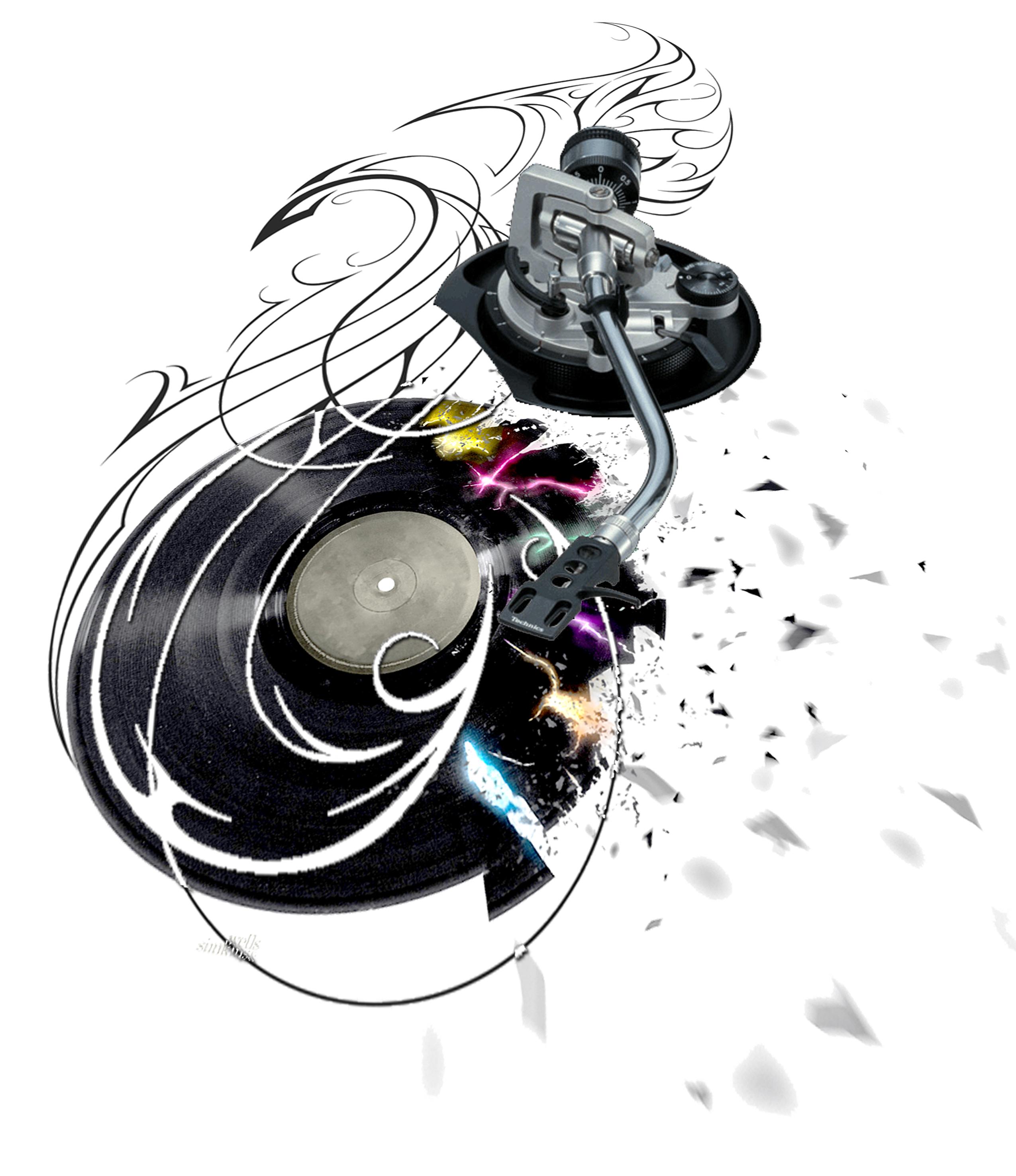 Drawn music dj speaker Headphones Headphones Tattoo Dj Mixer